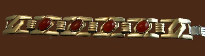 W.E. Richards Art Nouveau Symmetalic Carnelian Sterling 14k gold plated Bracelet