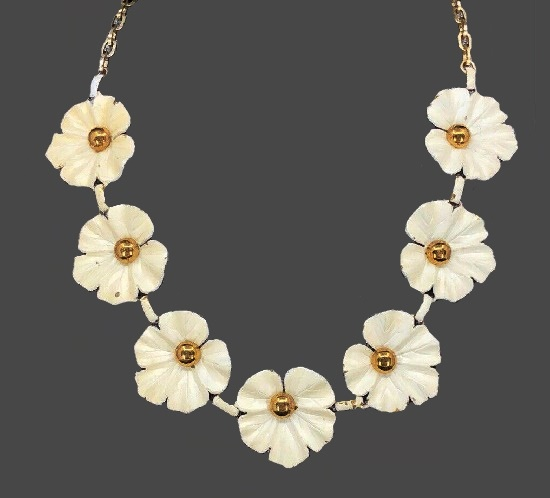 White flower necklace. Gold tone metal, white enamel. 1950s