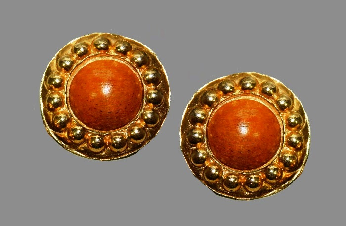 Wooden bead button style gold tone clip on earrings