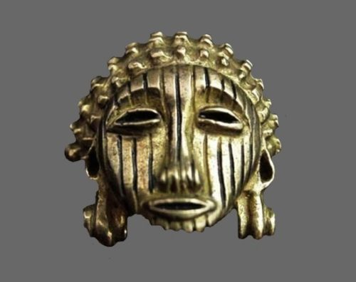 YEKE collection vintage tribal face brooch