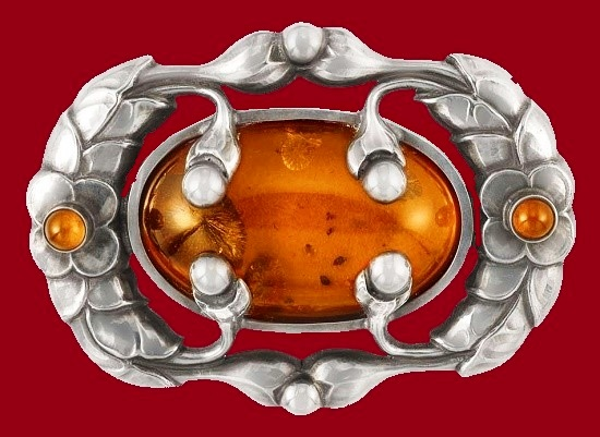 Beautiful sterling silver amber inserts brooch