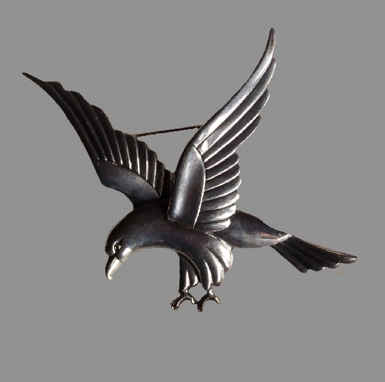 Eagle brooch, copied from Georg Jensen design by Coro in 1940