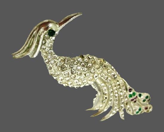 Fabulous bird brooch. Silver tone metal, rhinestones