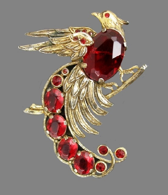 Paradise bird. Red glass crystals, gold tone jewelry alloy