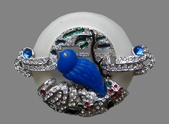 Silver tone royal blue lucite rhinestones bird brooch