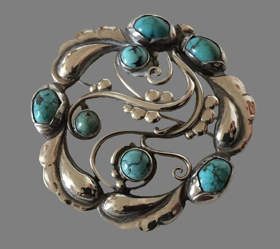 Turquoise cabochons ornamental sterling silver brooch