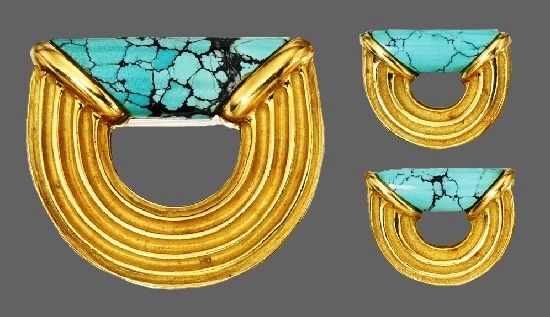 18 Karat Gold and Turquoise Brooch and Earclips