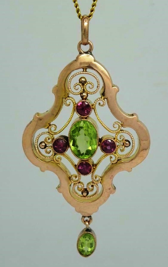 Murrle Bennett art nouveau jewelry. Beautiful Art Nouveau 9ct Gold Peridot and Tourmaline Lavaliere Pendant