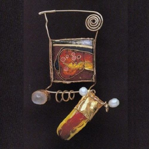 Abstract brooch, 1980. Gold and silver, cloisonne enamel on copper, glass, pearls, moonstone