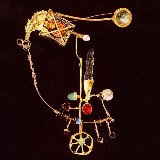 'Bicycle of the Barbarian' brooch. 1998. Cloisonne, gold, chrysoprase, beryl, quartz, tourmaline, emerald, pearl