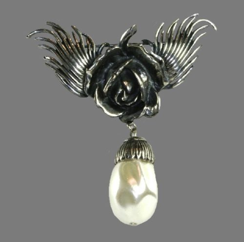 Blooming rose and dangling faux baroque pearl pin