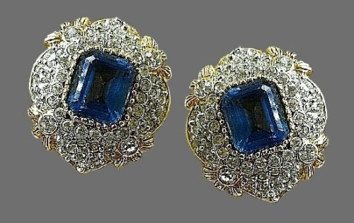 Blue glass cabochons clear rhinestones earrings. 1980s