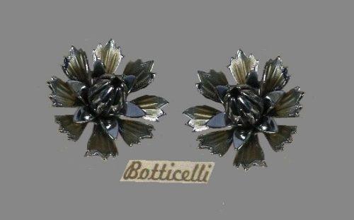 Carnation earrings. 1950s. Dark silver tone metal, pink enamel