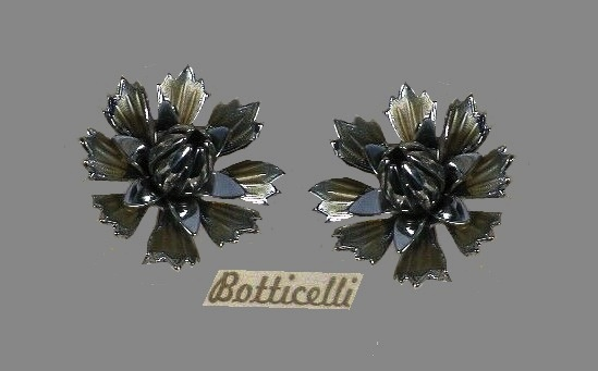 Carnation earrings. 1950s. Dark silver tone metal, pink enamel