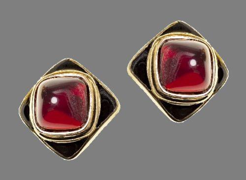 Diamond shaped clips. Gold tone metal, red glass cabochons, black enamel