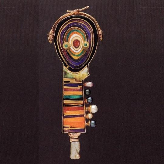 'Faberge grain' brooch. 1993. Cloisonne enamel, gold, silver, pearls, tourmaline
