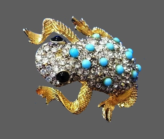 Frog brooch. Gold tone metal, rhinestones, onyx, turquoise beads