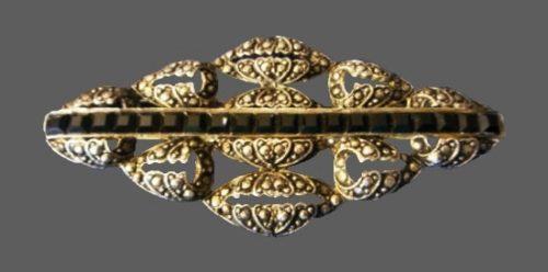 Marcasites black stones brooch