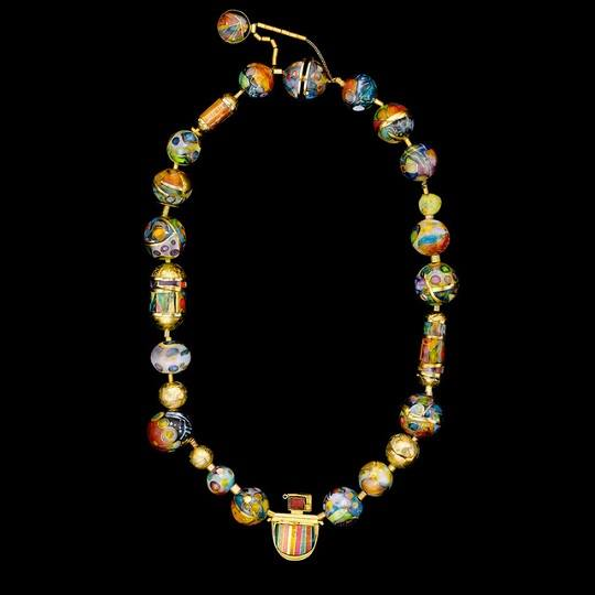 Necklace 2016, gold cloisonne enamel, silver, gold, rubellite