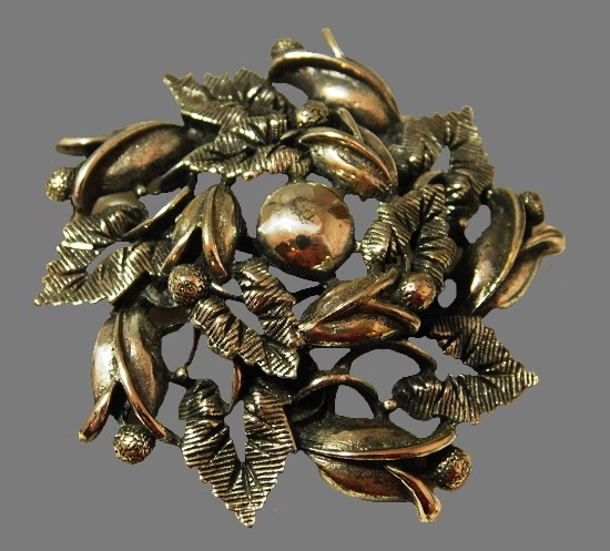 Oak Leaf Flower Silver tone Brooch