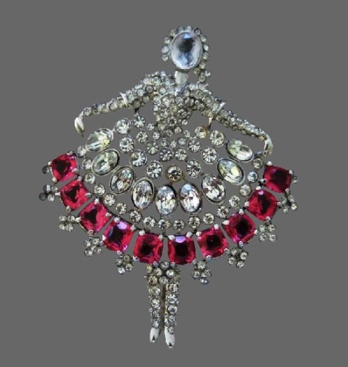 Russian ballerina brooch pin. Silver tone jewelry alloy, clear rhinestones, large pink crystals