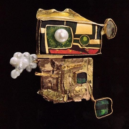 'Sorcerers pin' 1997. Cloisonne enamel on gold and silver, opals, pearls