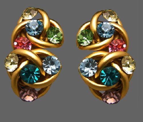 Colorful rhinestone gold tone earrings