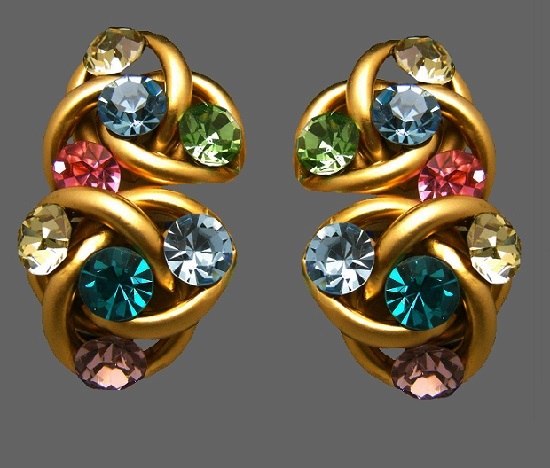 Colorful rhinestone gold tone earrings
