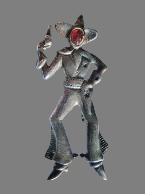 Cowboy sterling silver brooch pin