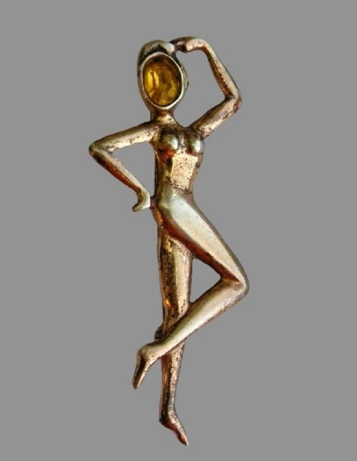 Dancer pin. Gold plated, sterling silver, amber color cabochons. Vintage 1950s