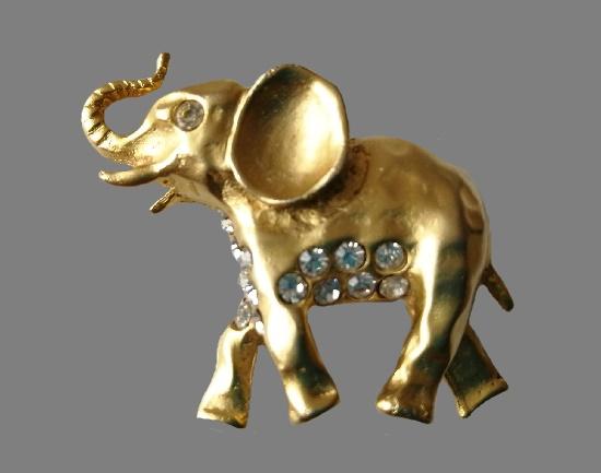 Elephant brooch. Gold tone metal, rhinestones. 4 cm. 1960s