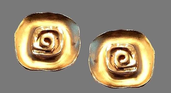 Modernist gold tone earrings