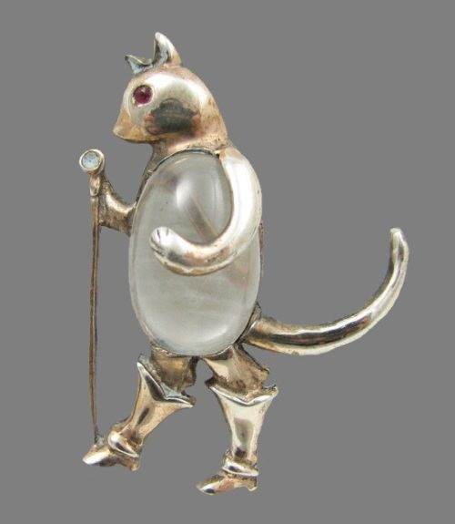 Puss in Boots brooch. Sterling silver