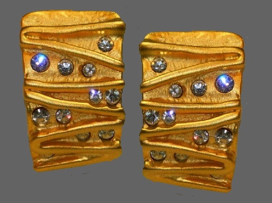 Rectangle gold tone with rhinestones clips earrings