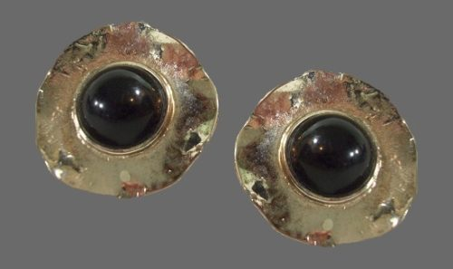 Silver tone black cabochon clip on earrings