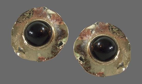 Silver tone black cabochon clip on earrings