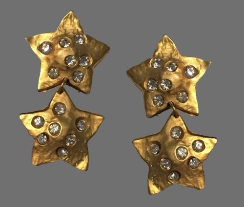 Stars clips of gold tone, rhinestones