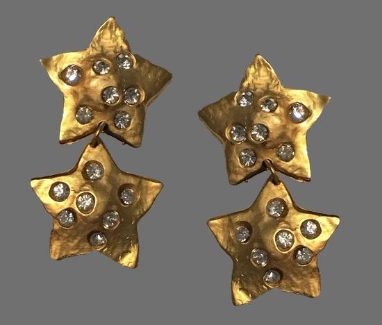 Stars clips of gold tone, rhinestones