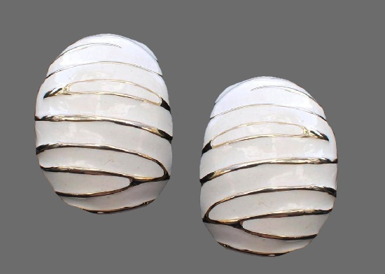 White enamel, golden stripes earrings. 1980s