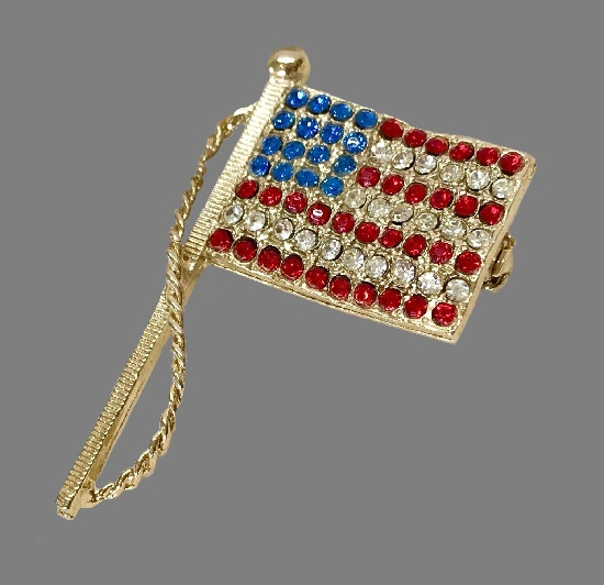 American flag brooch pin. White, red and blue rhinestones