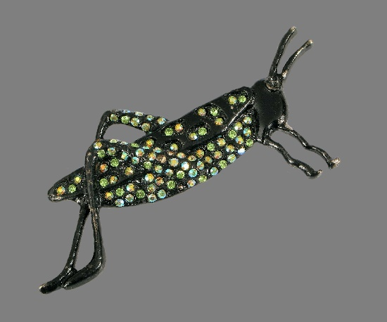 Grasshopper enameled brooch. Jewelry alloy, rhinestones
