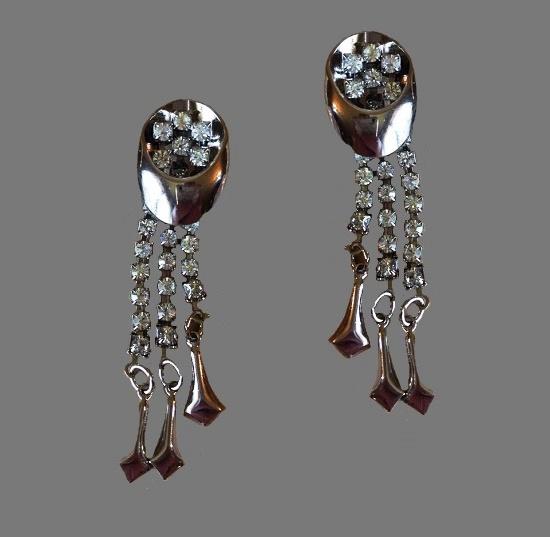 Silver tone dangle earrings with rhinestones. 7.2 cm