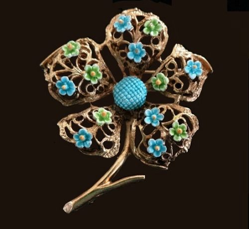 Blue and green enamel flower gold tone brooch