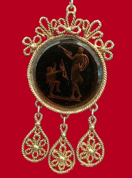 Cupid and Venus intaglio glass cameo pendant