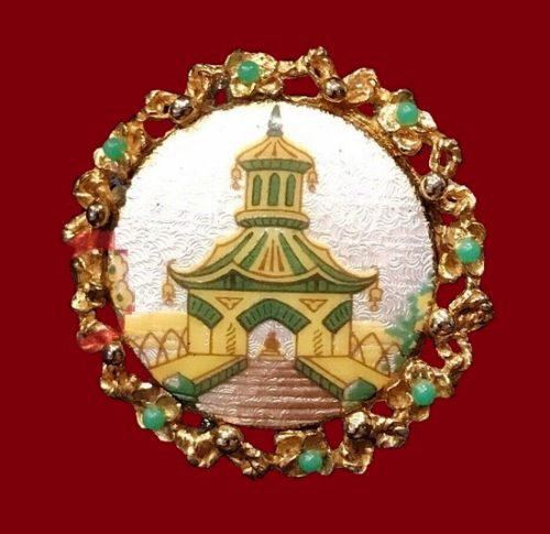 Gold tone metal, Enamel. Chinese Pagoda brooch
