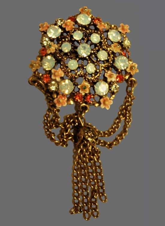 Opalscent rhinestone enamel tassel brooch