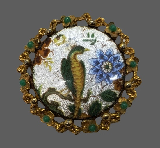 Peacock round brooch, green cabochons in wreath