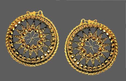 Round Clip on earrings, sunburst. Gold tone yellow rhinestones