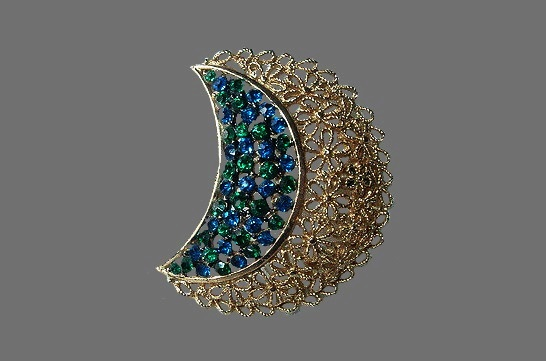 1950s Emerald and Sapphire rhinestone filigree floral brooch