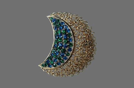 1950s Emerald and Sapphire rhinestone filigree floral brooch